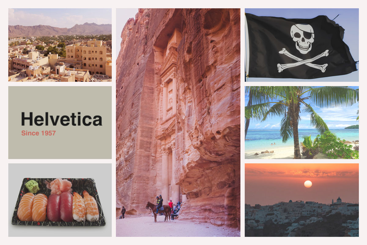 Fortified cities in Oman, Helvetica font Switzerland, Sushi overload in Tel Aviv Israel, Pink in Petra Jordan, Pirates in Seychelles, Mauritius beaches and perfect wine growing in Santorini.